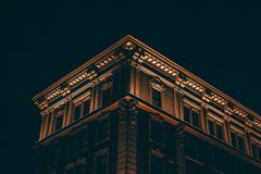 Low Angle View of Building Against Sky at Night Royalty Free Stock Photo