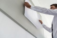 Low angle view of business leader preparing a presentation stock images