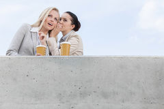 Low angle view of businesswoman whispering in coworker's ear while standing on terrace against sky Royalty Free Stock Image