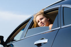 Low angle view of a car passenger Royalty Free Stock Image