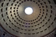 Low angle view of ceiling dome in Roman Pantheon, Rome, Italy royalty free stock images