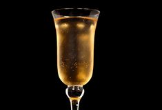Low angle view of champagne in a crystal glass Stock Photography