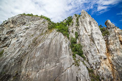 Low angle view of a cliff face. Near Danube river stock images