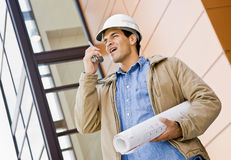 Low angle view of construction worker Stock Photo