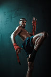 Low angle view of determined Muay thai fighter training thai boxing Stock Images