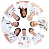 Low angle view of diverse group of doctors Stock Photos