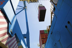 Low Angle View Of Dockside Crane royalty free stock photography