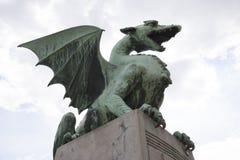 Low angle view of dragon bridge against sky, Slovenia, Ljubljana Royalty Free Stock Photos