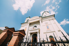 Low angle view of eastern european church with pointy fence under blue sky Stock Image
