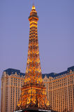 Paris Las Vegas at Sunset. A low-angle view of the Eiffel Tower replica of Paris Las Vegas Resort at sunset. Right after sunset, the lights of the Eiffel Tower royalty free stock photo