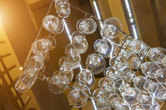 Low angle view of empty wine glasses. In restaurant Stock Photo