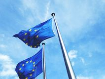 Low Angle View Of European Union Flags Royalty Free Stock Photo