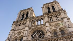 Unique and only the great Notre Dame. Low angle view of the famous Cathedral of Notre Dame in Paris, France Stock Photo