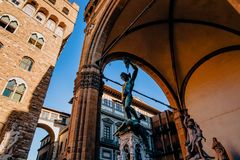 low angle view of famous statue of Perseus holding head of Medusa, Loggia de stock photos