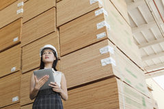 Low angle view of female industrial worker holding tablet PC with stacked wooden planks in background Stock Image