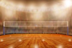 Volleyball arena with copy space. Low angle view of fictitious volleyball arena with sports fans in the stands and copy space. Focus on foreground with stock photography
