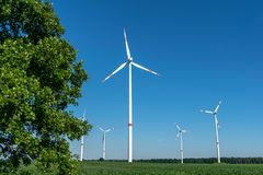 Low angle view of five wind power turbines, part of a wind farm, on a green field in eastern Germany near the city of Cottbus. Low angle view of five wind power stock images