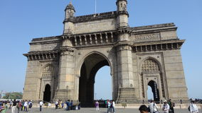 Low angle view of Gateway of India against blue sky. Gateway of India located at Mumbai Royalty Free Stock Photo