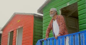 Low angle view of happy active senior African American man standing at beach hut on a sunny day 4k. Low angle view of happy active senior African American man stock video footage