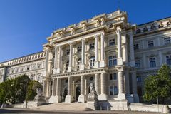 Highest court Justizpalast building in Vienna, Austria. Low angle view of highest court Justizpalast building in downtown district at Vienna, Austria royalty free stock photos
