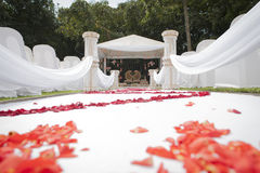 Low angle view of Hindu Indian wedding decor and venue. Low angle view of a Hindu Indian religious wedding decor and venue done in white Royalty Free Stock Images