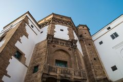 Low angle view of historic building in Habous. Casablanca, Morocco - November 1, 2017 :  low angle view of historic building in Habous Royalty Free Stock Images