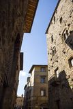 Low angle view of a historical building in a old town. Volterra, Province of Pisa, Tuscany, Italy Royalty Free Stock Image