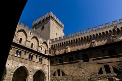 Low angle view of historical Palais des Papes. (Papal palace) in Avignon France royalty free stock photography