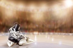 Ice Hockey Skates in Arena Rink With Copy Space stock photography