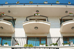 Low angle view of hotel balconies Stock Image