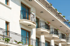 Low angle view of hotel balconies Stock Photos