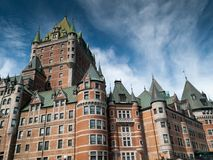 Low angle view of a hotel, Chateau Frontenac Hotel, Quebec City, Stock Images
