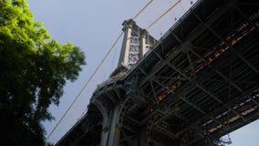 Low Angle View Looking Up at Manhattan Bridge Deck. A low angle view looking up at the deck of the Manhattan Bridge. Shot at 60fps stock video footage