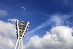 Stadium Lighting Tower & Cloudy Blue Sky Stock Photos