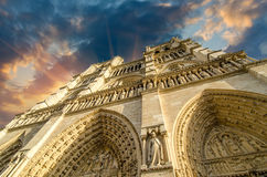 Low-angle view of Notre-Dame Cathedral in Paris Stock Image