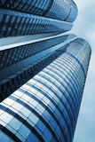 Low angle view of office building. With clear blue sky Royalty Free Stock Photography