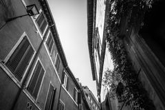 Low angle view of old buildings in historical centre of Rome a s Royalty Free Stock Images