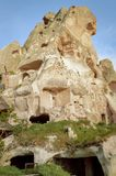 low angle view of old cave dwellings at Goreme National Park, stock photos