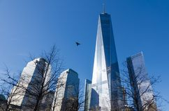 Low-angle view of One World Trade Centre, New York royalty free stock photography
