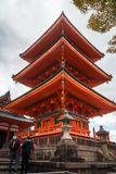 Low angle view of the Pagoda at Kiyomizu-dera Temple, in Kyoto, Japan stock image