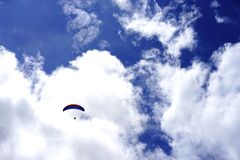 Low Angle View of Paragliding Against Sky Royalty Free Stock Photos