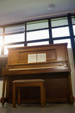 Low angle view of piano against window Royalty Free Stock Image
