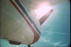 Low angle view of  a private aircraft with propeller spinning stock video