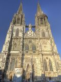 Regensburg Cathedral against blue sky, Germany stock photography