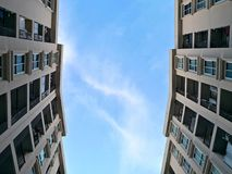 Low angle view of residential building condominium or apartment stock photography