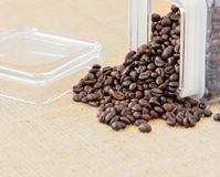 Roasted coffee beans glass recipient Stock Photography