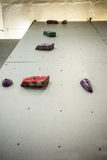 Low angle view of rock climbing wall Royalty Free Stock Photos