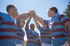 Low angle view of rugby team with arms raised royalty free stock image