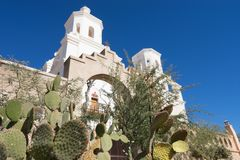 The San Xavier del Bac mission in Tucson Arizona. Low angle view of the San Xavier del Bac mission in Tucson Arizona Royalty Free Stock Photo