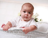 Low angle view of a six-month old baby girl Stock Photo